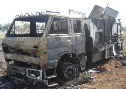 Incêndio destrói caminhão do Corpo de Bombeiros