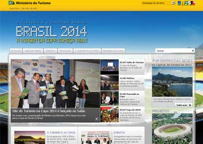 Copa do Mundo de 2014 ganha site criado pelo Ministério do Turismo