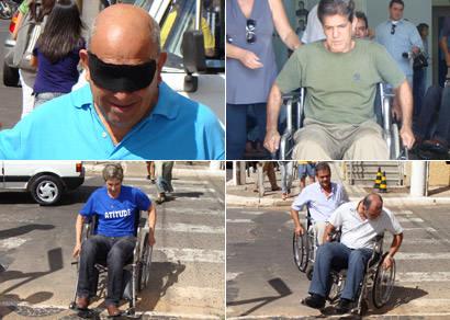 Vereadores sentem na pele as dificuldades dos deficientes
