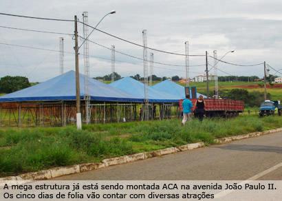 Mega estrutura abriga desfiles e shows no Carnaval de Araxá