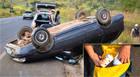 Polícia encontra carro capotado na MG-428 e procura ocupantes