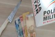 PM prende suspeito de furtos com faca e dinheiro
