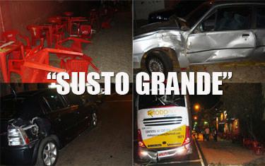 Ônibus desgovernado causa acidente na praça São Domingos