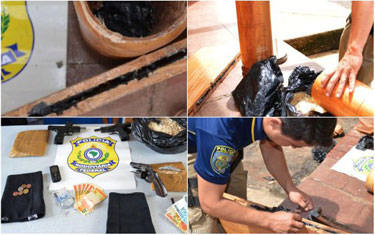 PRF apreende 7kg de pasta base de cocaína e armas na BR-262