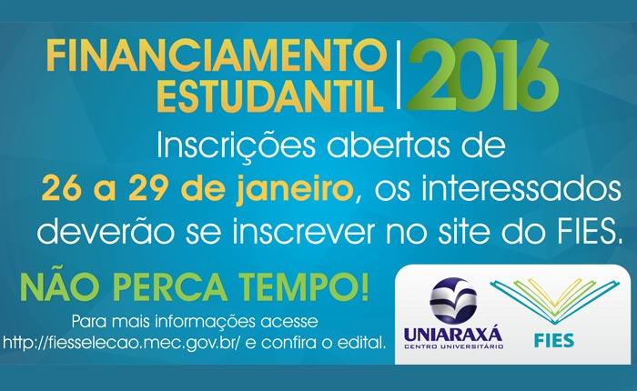 Inscrições abertas para o FIES no Uniaraxá
