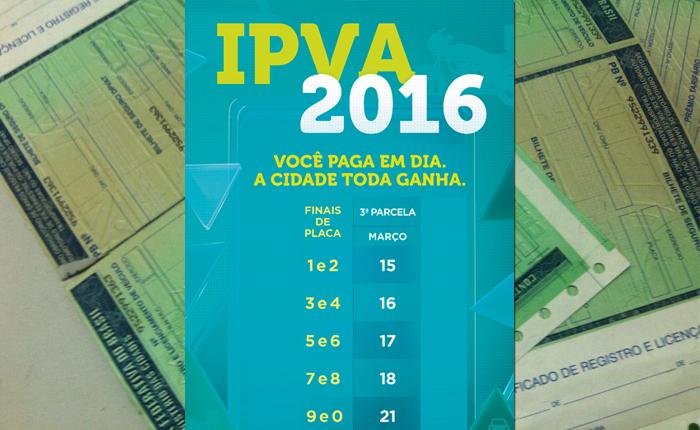 Terceira parcela do IPVA começa a vencer nesta terça-feira; escala vai até o dia 21 de março