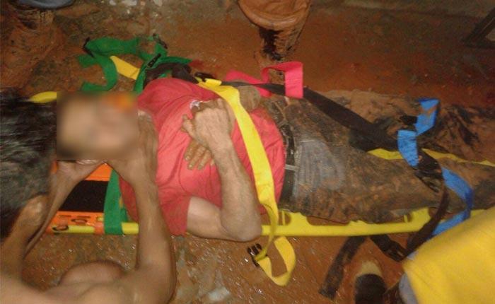 Duas pessoas ficam soterradas após muro desmoronar no Cincinato de Ávila