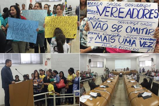 Reunião da Câmara é marcada por protestos nas áreas de educação e habitação