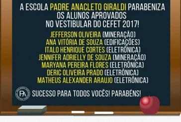 Escola Padre Anacleto Giraldi parabeniza os alunos aprovados no Cefet 2017