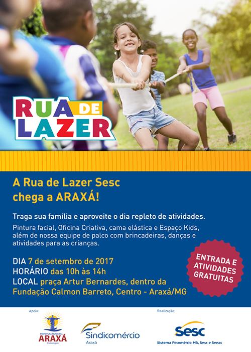 """Sindicomércio traz à Araxá a """"Rua de Lazer"""" nas comemorações de 7 de Setembro"""