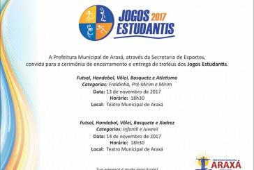 Convite: Encerramento dos Jogos Estudantis 2017