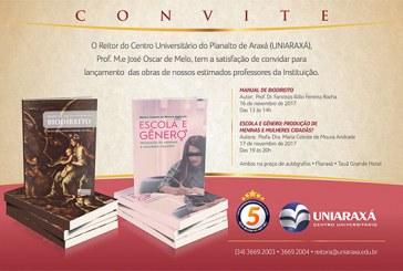 Convite: Professores do Uniaraxá lançam livros durante o Fliaraxá