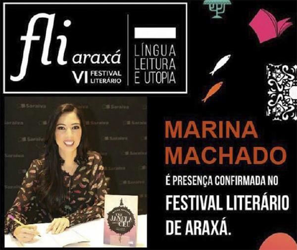 Marina Machado participa do Fliaraxá neste final de semana