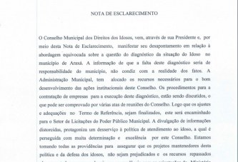 Conselho Municipal do Idoso de Araxá envia nota de esclarecimento à imprensa