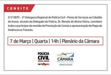 Convite: Reunião de Prestação de Contas e apresentação do Mapa da Violência no Trânsito