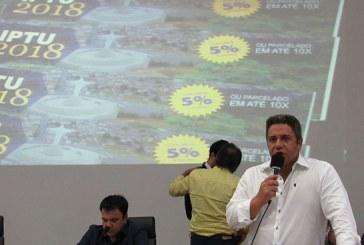 Robson Magela propõe desconto maior para quem paga o IPTU à vista.