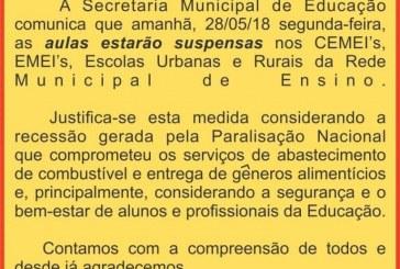Nota da Secretaria Municipal de Educação sobre a suspensão das aulas