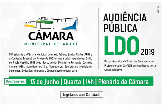 Convite: Audiência Pública que discutirá a LDO 2019