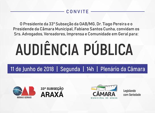 Convite: Audiência Pública na Câmara Municipal