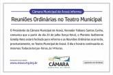 Comunicado: Reuniões da Câmara Municipal