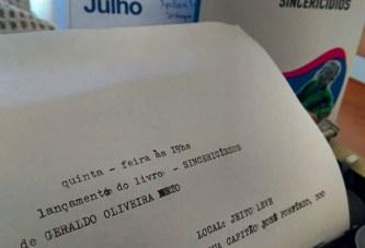 """Geraldo Oliveira Neto lança livro """"Sincericídios"""" na próxima quinta"""