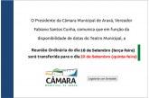 Reunião ordinária da Câmara Municipal de Araxá desta semana é transferida para quinta