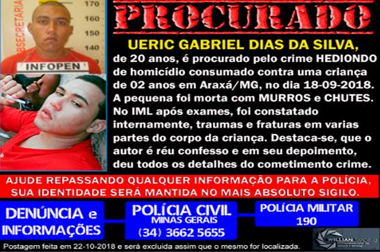 Autor de homicídio contra menina de 2 anos em Araxá está foragido
