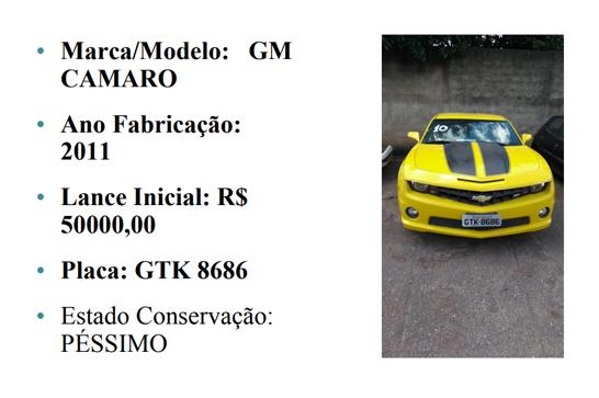 Veículos envolvidos com o tráfico de drogas vão a leilão em Minas Gerais; Camaro amarelo está entre os destaques