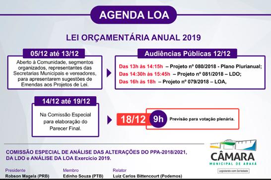 Comissão Especial promove audiências públicas sobre a LOA, PPA e LDO na próxima quarta 1