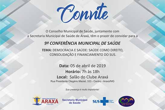 Araxá terá 9ª Conferência Municipal de Saúde