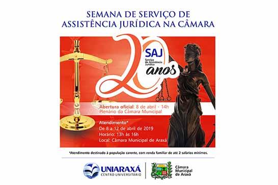 Uniaraxá e Câmara lançam Semana de Assistência Jurídica para pessoas carentes