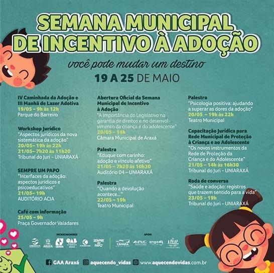 Semana Municipal de Incentivo à Adoção promove diversas atividades em Araxá 1