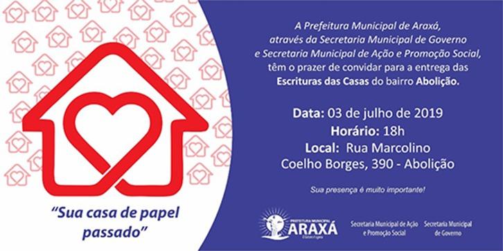 Entrega das escrituras das casas do bairro Abolição