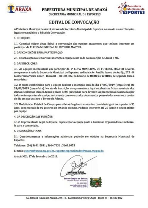 Inscrições abertas para 1ª Copa Municipal de Futebol Master 1
