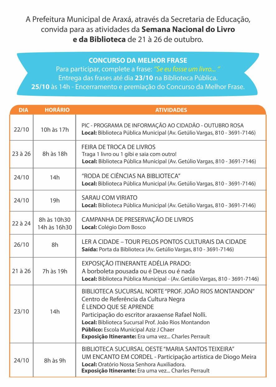 Semana Nacional do Livro e da Biblioteca será comemorada com diversas atividades 1