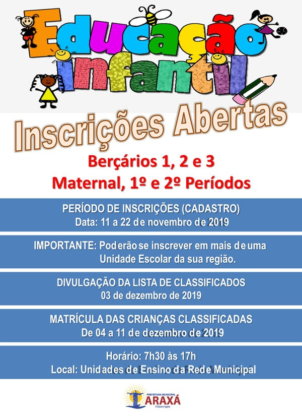 Prefeitura define o calendário de matrículas das escolas municipais de Araxá 1