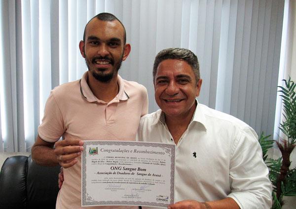 ONG Sangue Bom é homenageada pelo vereador Robson Magela