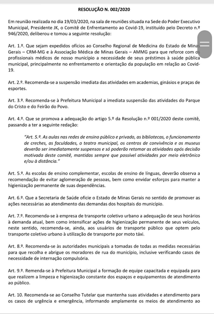 Comitê divulga segunda resolução sobre ações de combate ao Coronavírus em Araxá 1