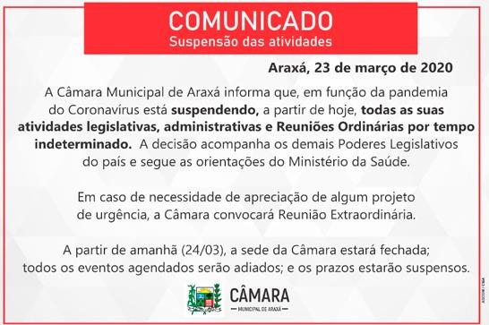 Câmara Municipal de Araxá suspende atividades por tempo indeterminado