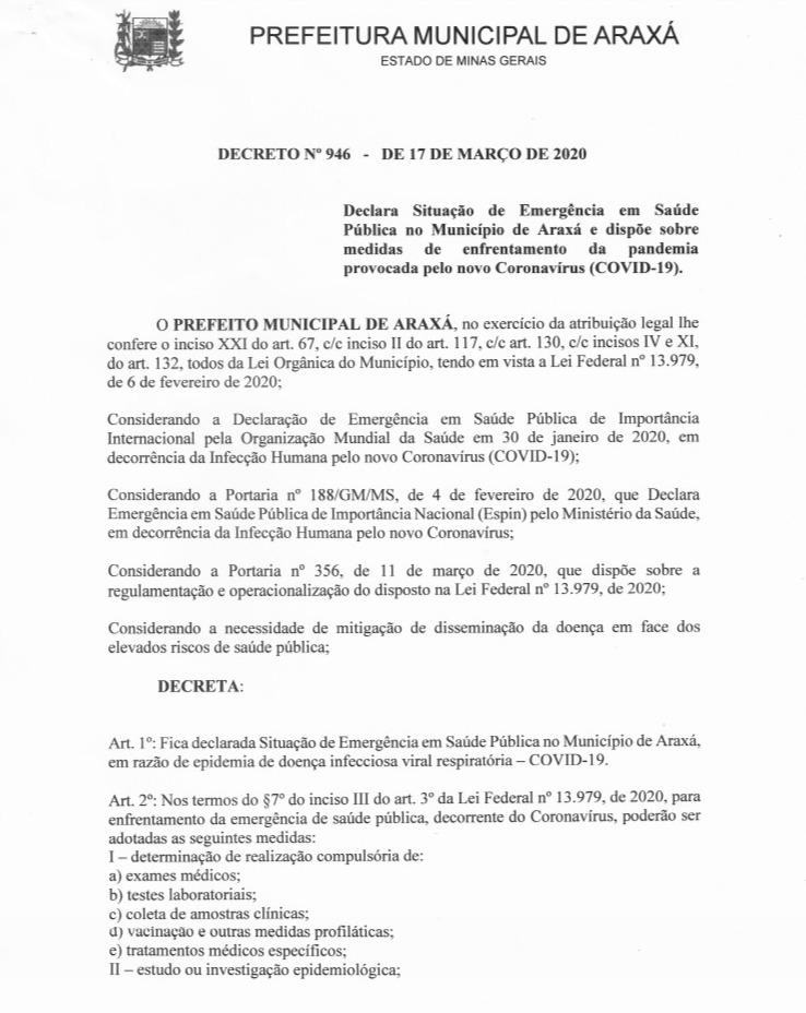 Prefeito declara situação de emergência e anuncia medidas de combate ao Covid-19 1
