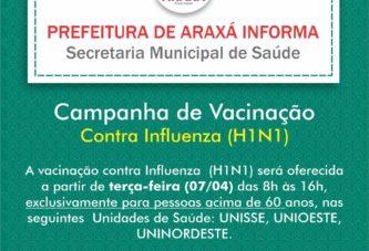 Vacinação contra gripe é retomada exclusivamente para pessoas acima de 60 anos