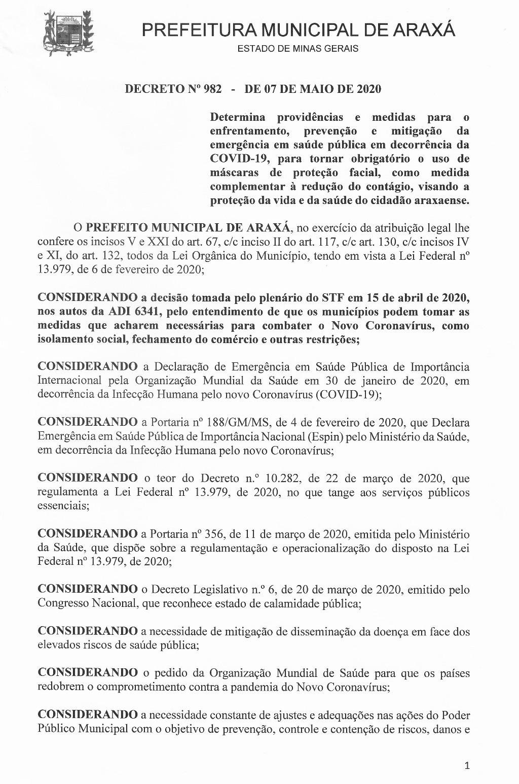 Prefeito Aracely assina decreto determinando uso obrigatório de máscara na cidade 1