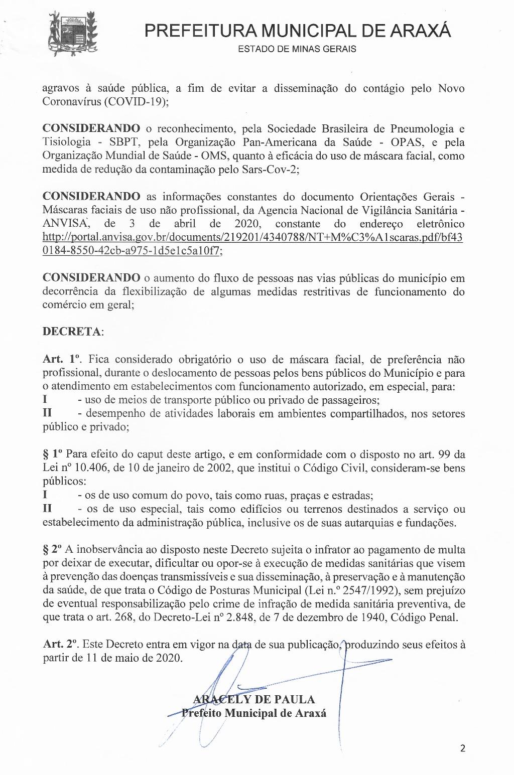 Prefeito Aracely assina decreto determinando uso obrigatório de máscara na cidade 2
