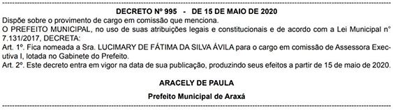 Lucimary Ávila retorna à Prefeitura de Araxá como assessora 1