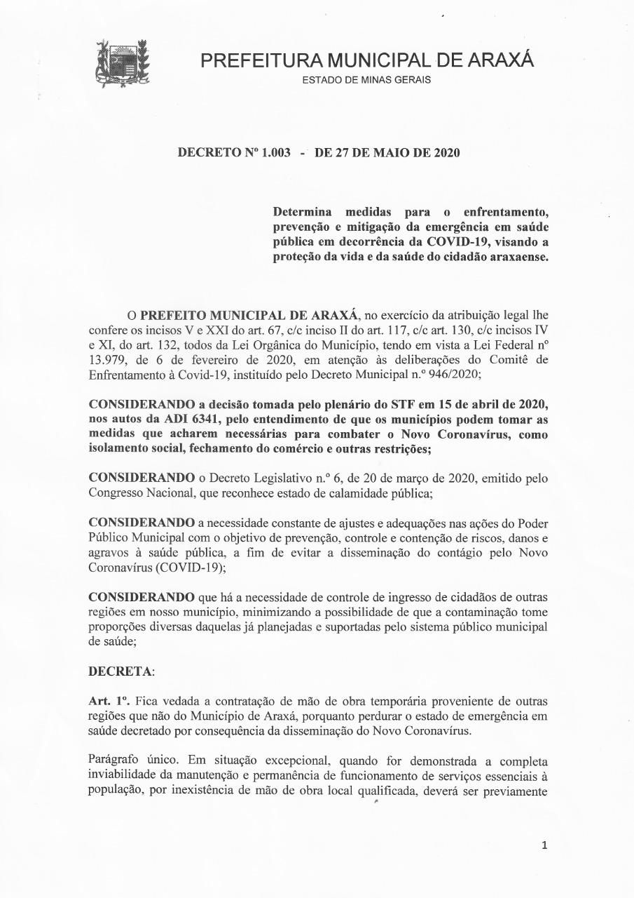 Prefeito assina decreto que proíbe contratação de mão de obra temporária de outros municípios 1