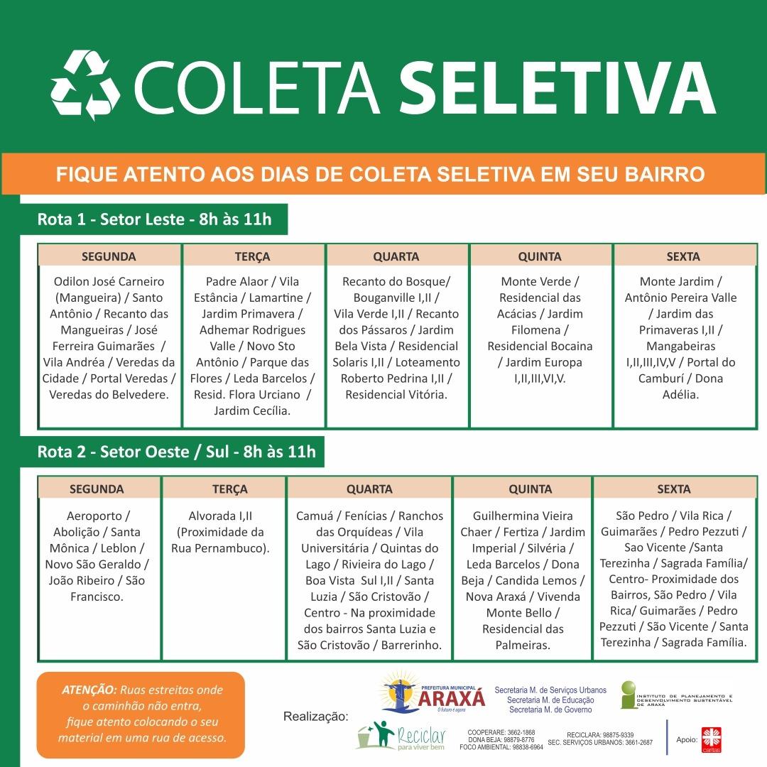 Cronograma da Coleta Seletiva nos bairros de Araxá 1