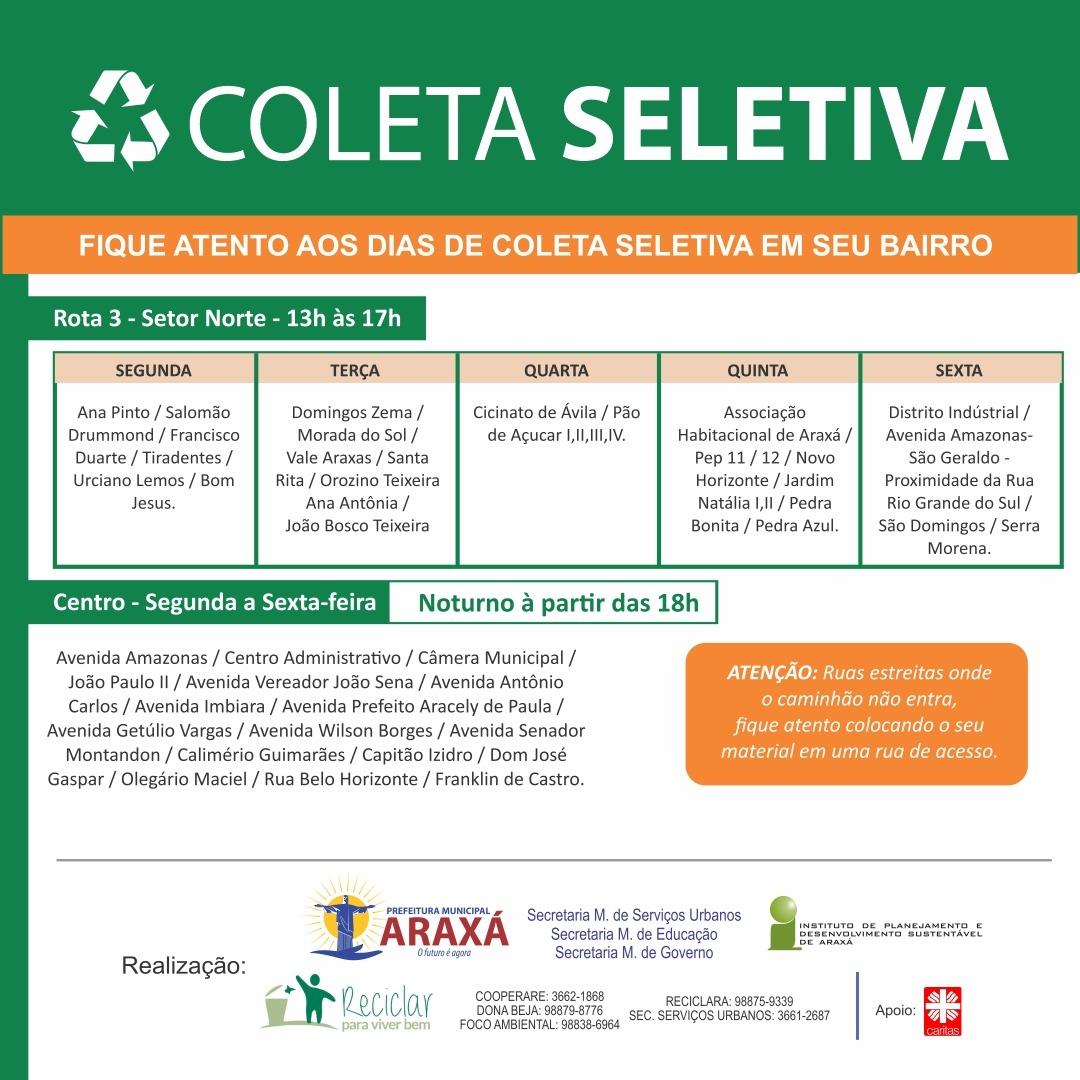 Cronograma da Coleta Seletiva nos bairros de Araxá 2