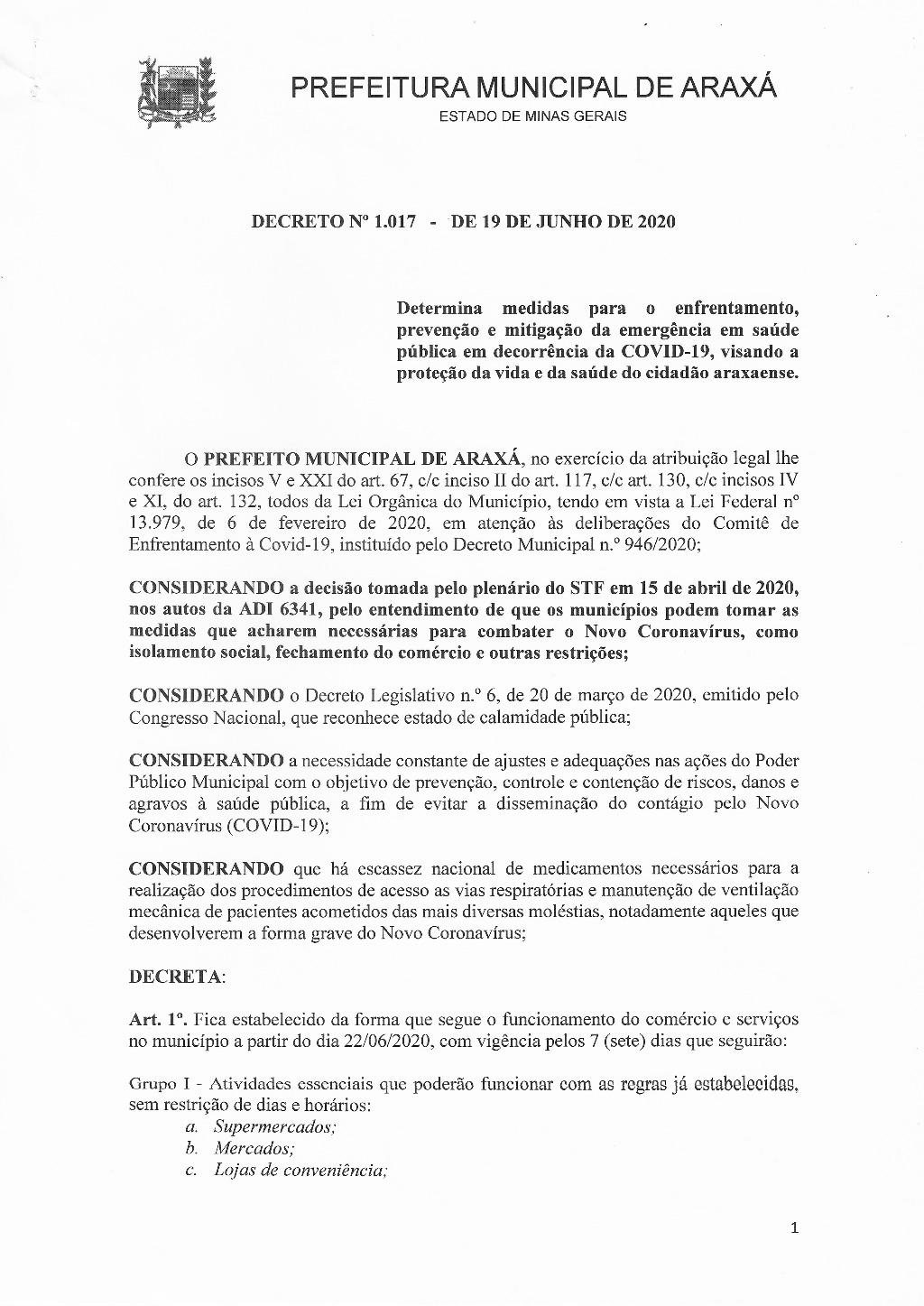 Decreto reduz flexibilização do comércio de Araxá a partir de segunda 1