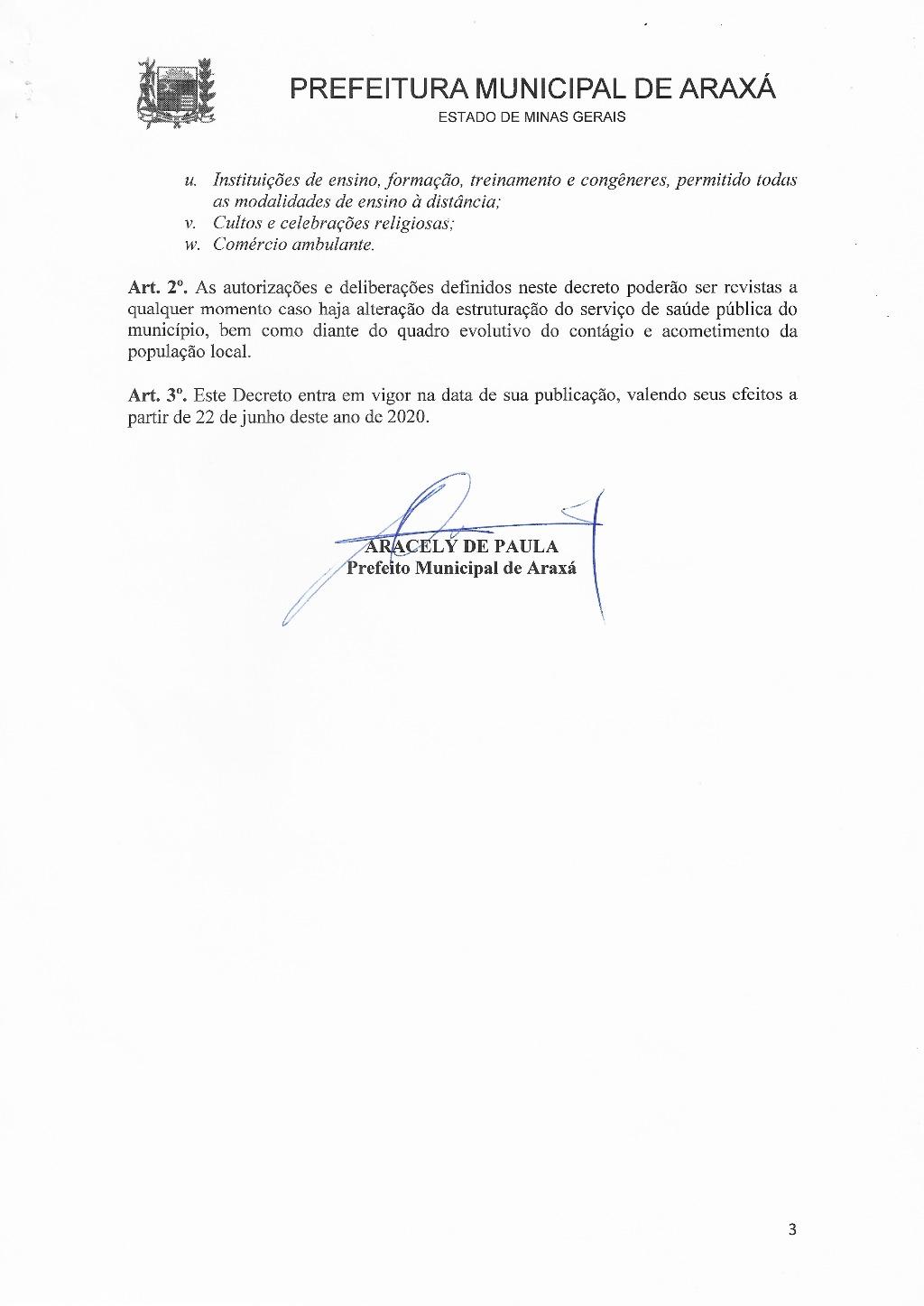 Decreto reduz flexibilização do comércio de Araxá a partir de segunda 3