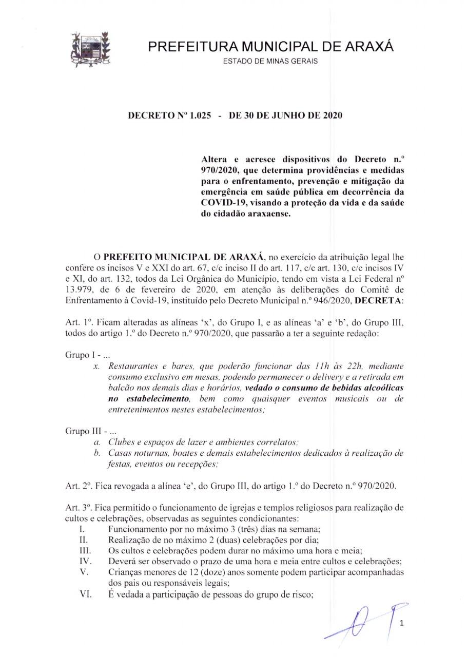 Novo decreto proíbe consumo de bebidas alcoólicas em bares e restaurantes; cultos religiosos e academias voltam a funcionar 1